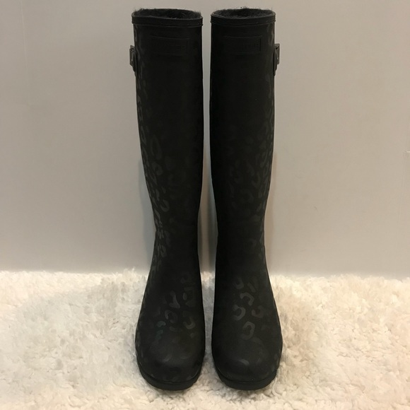 Hunter Leopard Black Lined Rain Boots